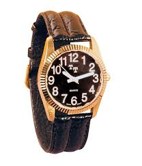 maxiaids mens gold rolex low vision watch black embossed leather band