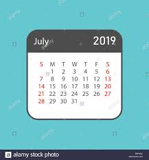 Calendar July 2019 Year In Simple Style Calendar Planner Design