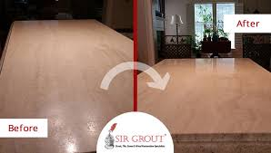 before and after picture of a travertine stone countertop sealing