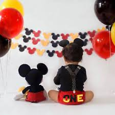 Mickey Mouse Baby Boy 1st Birthday Cake Smash Costume Suspenders