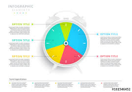Clock Chart Template Colorful Pie Chart Clock Infographic Buy This Stock
