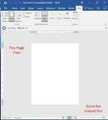 The Zoom Zoom Not Working In Word 2016 Print Layout View The