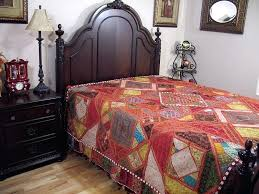 embroidered inspired bedding decorative handmade bedspread bed cover indian style bedspreads uk