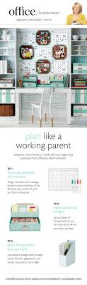 organize with office by martha stewart products to add a bright pop of color to bright basement work space decorating