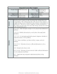 Middle School Lesson Plan Templates Detailed Lesson Plan Template