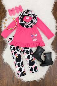hot pink unicorn cow scarf set little