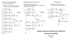 simple general summing and subtracting op amp calculation