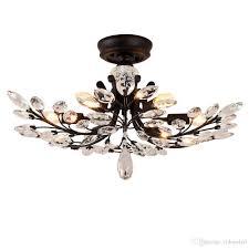 Großhandel Amerikanischen Landhausstil Führte Kronleuchter Leuchten Eisen Kristall Deckenleuchte 8 Köpfe Schwarz Kronleuchter Innenbeleuchtung Von