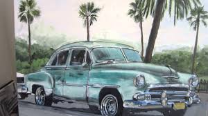 palm trees vintage cars from cuba by painter susan pepler with an unexpected ending you