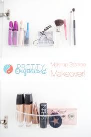 makeup storage ideas plastic makeup organizers attached inside cabinet door