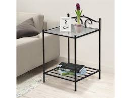 yaheetech 2 tiered end table rectangular metal bedside table with glass top shelf