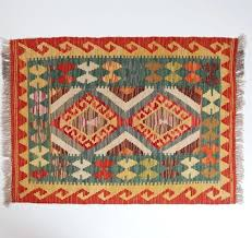 afghan vintage rug red kilim faded