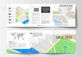 Set Of Business Templates For Square Tri Fold Brochures Leaflet