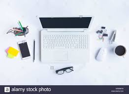 White work desk Laptop Table White Desk Office With Laptop Smartphone And Other Work Supplies With Cup Of Coffee Top View With Copy Space For Input The Text Designer Workspace Alamy White Desk Office With Laptop Smartphone And Other Work Supplies