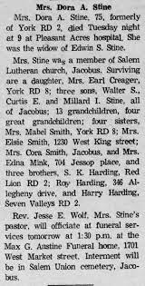 Dora (Harding) Stine 1970 obituary - Newspapers.com