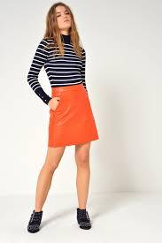 orange faux leather skirt