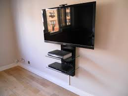 Tv Stand With Floating Glass Shelves Furniture home with black metal wall mounted tv stand with double 1