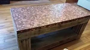 Wood Pallet Table Top A Look At A Pallet Table Coated In Pennies Youtube