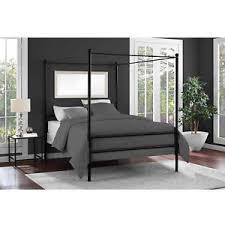 Modern Metal Canopy Bed Frame Platform Full Size Black Four Post ...