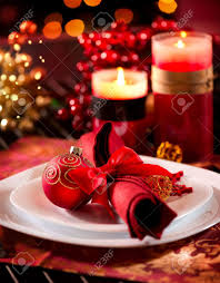 Christmas Table Setting Christmas Table Setting Holiday Decorations Stock Photo Picture