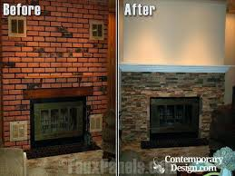 cleaning red brick fireplace red brick fireplace makeover with fake stone panels fireplaces electric modern