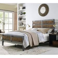 Metal and Wood Plank Queen Bed