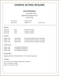Acting Resume Templates Delectable Doctemplates Acting Resume Template Build Your Own Now Example Good