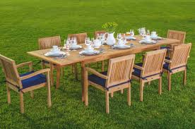 teak outdoor dining chairs. WholesaleTeak 9 Piece Grade-A Teak Outdoor Dining Set With 94\u2033 Table And 8 Stackable Chairs