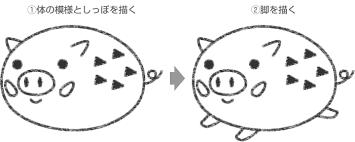 イノシシ猪のイラストの簡単な書き方