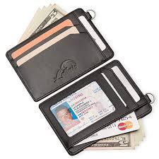 lethnic mini keychain wallet minimalist slim front pocket genuine leather card holder with id window