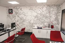 Wallpapered office home design Mural Red And White Map Wallpaper In Estate Agency Office With Red Chairs Wallpapered Custom Map Wallpaper Bespoke Map Wall Murals Wallpapered