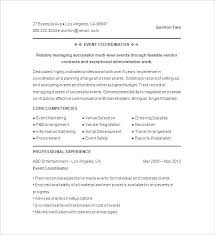 Resume Template Examples Event Planner Resume Sample Event Planner Resume Template Event ...