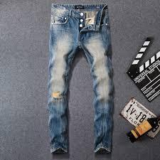 2019 <b>Italian Vintage Style Fashion</b> Men Jeans Blue Slim Fit Retro ...