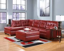 soho contemporary red leather sectional
