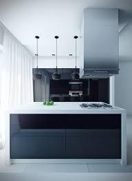 sleek modern kitchen island with black mini pendant lights and extractors hood above gas hobs