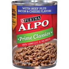 purina alpo prime clics with beef plus bacon cheese flavors dog food 13 2 oz can
