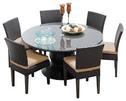 napa 7 piece 60 round glass top patio dining set