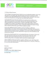High School Letter Of Recommendation Examples Free Cover Letter