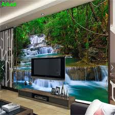 3d waterfall forest wallpaper photos bedroom wallpaper wallpaper home decor wallpaper modern landscape nature background wall malaysia
