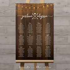 Seating Chart Wedding Vertical Wedding Seating Chart With String Lights