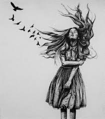 abstract drawing artfido buy art online original tattoo art girl and birds