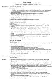 Transportation Resume Examples Patient Transport Resume Samples Velvet Jobs