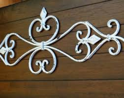 fleur de lis metal wall art scrolled metal wall decor antique white or pick color shabby chic cottage country chic wall hanging on metal wall art shabby chic with fleur de lis metal wall decor scrolled wrought iron wall art