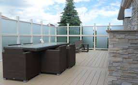 deck with frosted glass railing