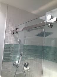 gray glass tile shower room with glass mosaic accent with glass tile bathroom wall ideas