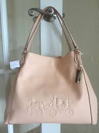 Coach 33728 Embossed Horse and Carriage Edie Shoulder Bag Apricot Leather    eBay