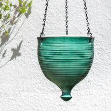hanging planter green ceramic outdoor