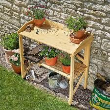 garden grow wooden two tier potting