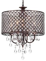 mariella 4 light crystal drum shade chandelier antique copper