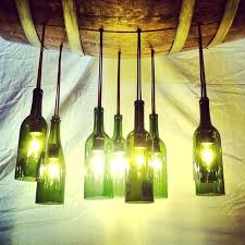 green wine bottle chandelier light hanging on barrel as well make diy fixture als recycled wine bottle chandelier diy